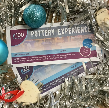Pottery experience vouchers from Eastnor Pottery and the flying potter