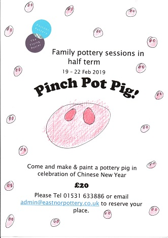 poster advertising family pottery workshop at eastnor pottery in feb 2019 half term