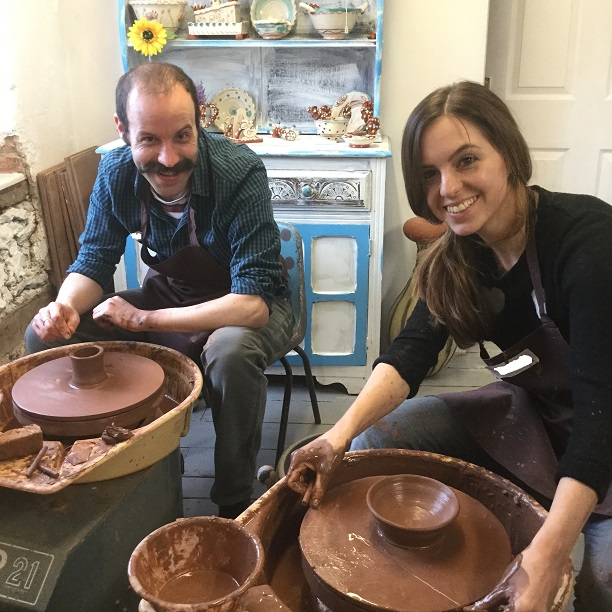 creative couple spend the day learning how to make pottery on the potter's wheel at eastnor pottery
