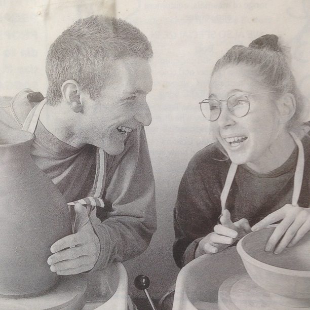 Herefordshire artists Jon Williams and Sarah Monk photographed in 2014 when the couple first moved to Eastnor in 1995