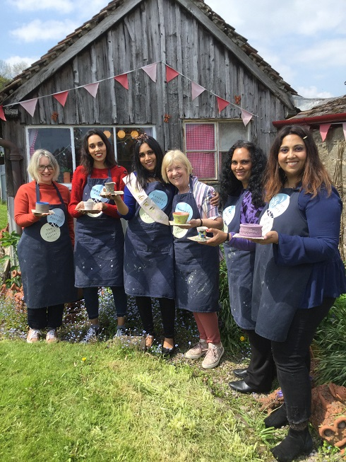 creative hen party group make amazingly colourful ceramics on eastnor castle estate in herefordshire