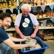hey clay participant makes a pot at eastnor pottery as part of free hey clay event