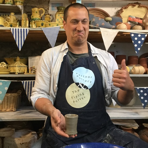 thumbs up from hey clay participant at eastnor pottery and the flying potter
