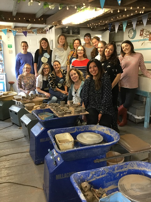 pottery wheel hen party at eastnor pottery in herefordshire