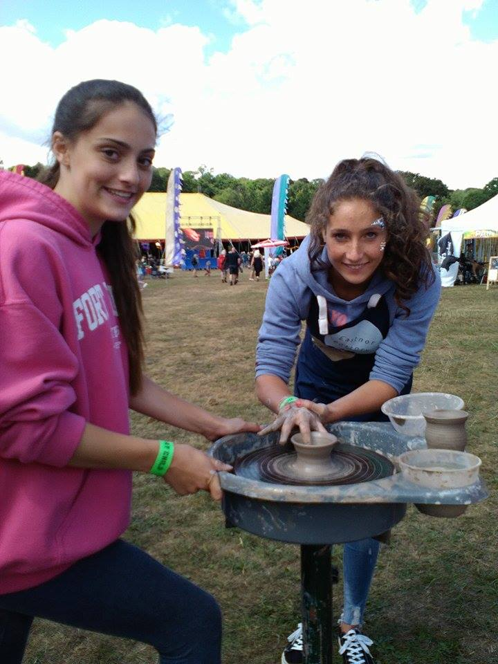 pottery wheel fun at lakefest music festival with eastnor pottery and the flying potter 2019