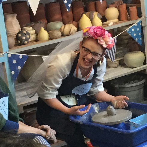 hen on the potter's wheel at eastnor pottery herefordshire