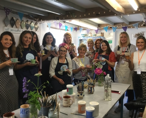 happy hen party at eastnor pottery herefordshire group photo