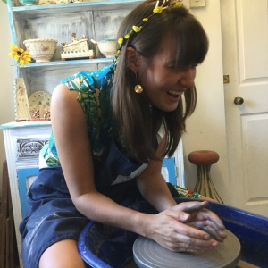 molly making a pot at eastnor pottery as part of her hen party celebrations