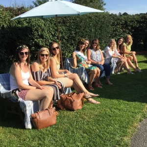 hen party enjoying the sunshine at eastnor pottery herefordshire