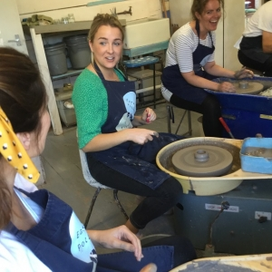 potter's wheel team building event at eastnor pottery home of the mobile flying potter