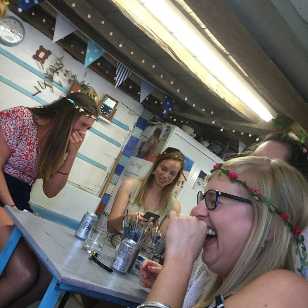 girls have lots of fun making pottery at eastnor pottery and the flying potter in herefordshire