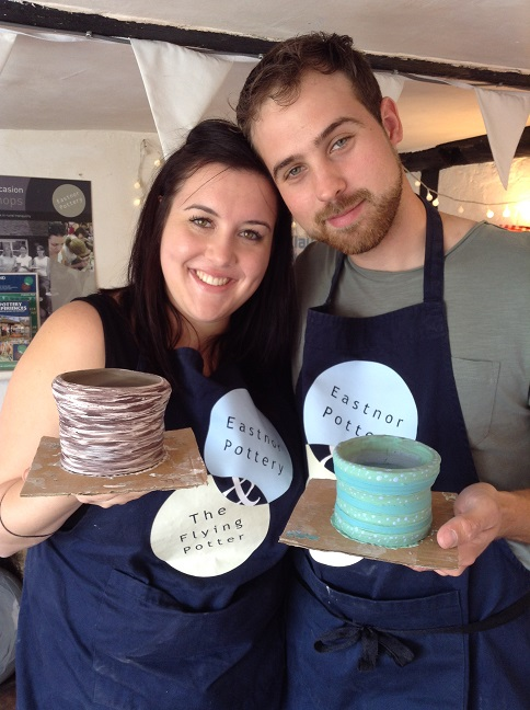 couple make pottery together at eastnor pottery