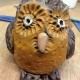 clay owl made on a pottery class at eastnor pottery in herefordshire