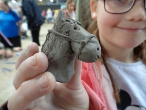 clay horses head made with eastnor pottery and the flying potter at countrytastic malvern showground