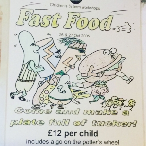 children's pottery event poster from 2005 advertising eastnor pottery's kids workshop called fast food