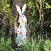slipware pottery rabbit made by sarah monk from eastnor pottery herefordshire for easter bunny trail at puzzlewood