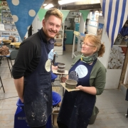 mother and son at eastnor pottery