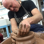 happy potters wheel weekend course participant at eastnor pottery