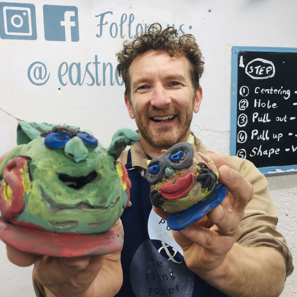 jon williams from eastnor pottery and the flying potter with his clay apple super heros ready for october 2020 half term