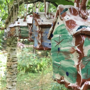 bug houses by herefordshire slipware potter sarah monk at hellens garden festival 2020