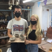 introduction to the potter's wheel participants at eastnor pottery