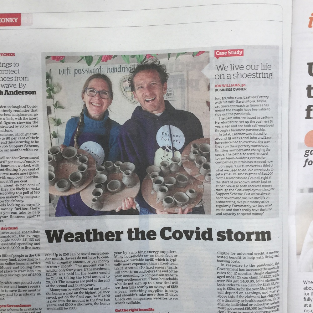 eastnor potters jon williams and sarah monk  appear in i newspaper article