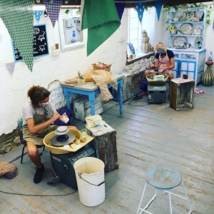 participants at pottery course at eastnor pottery