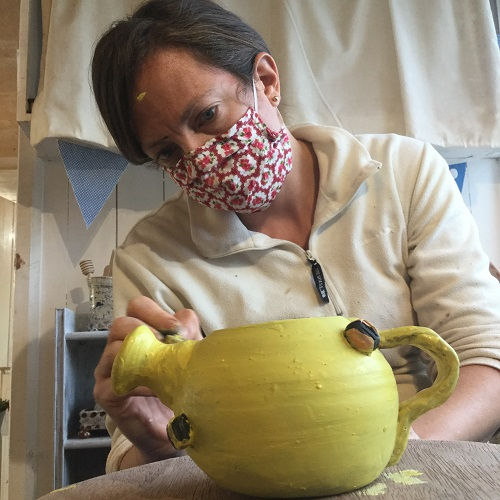 emma collects tea pots so she made one on a pottery course at eastnor pottery in october 2020
