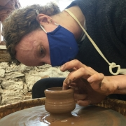 total concentration on the potter's wheel