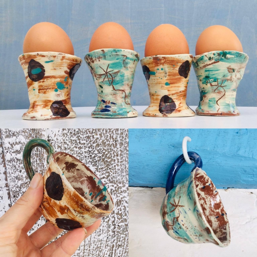 hand made egg cups and espresso mugs by eastnor potter sarah monk