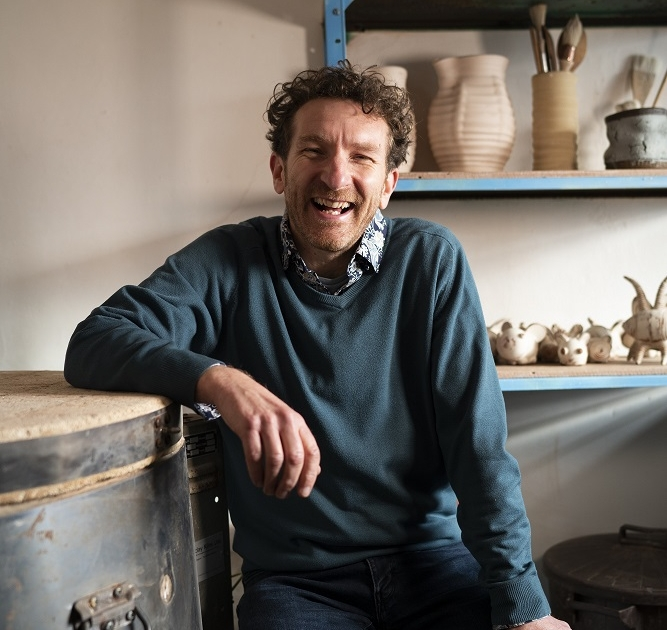 ceramic artist and potter jon williams in his eastnor pottery studio herefordshire