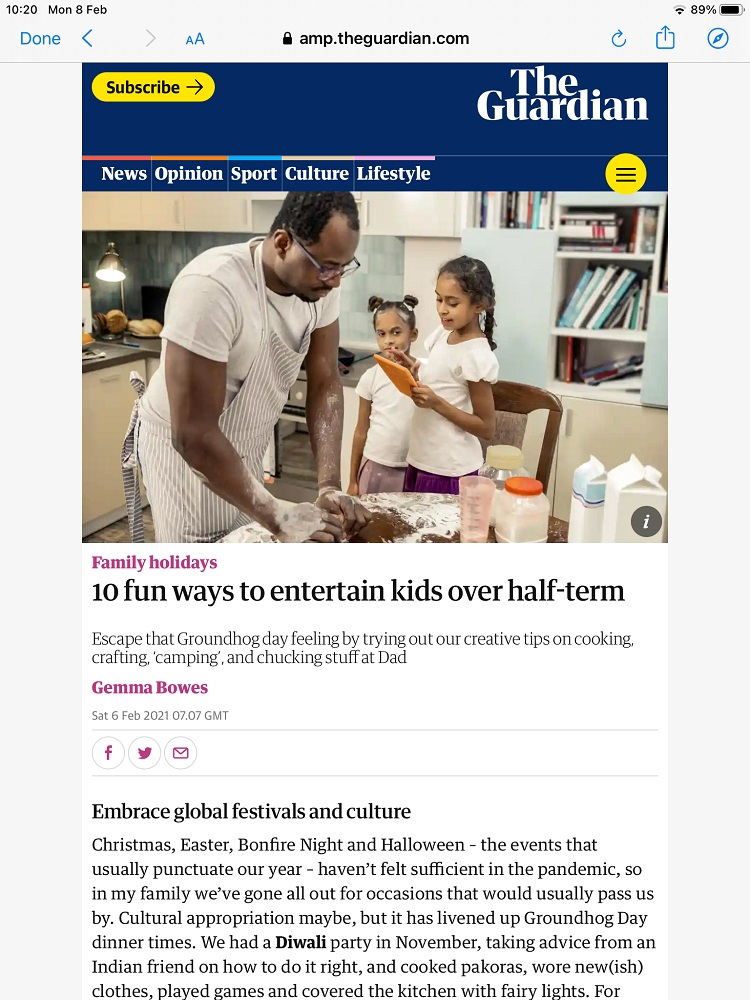 guardian newspaper article about things to do in half term and featuring eastnor pottery