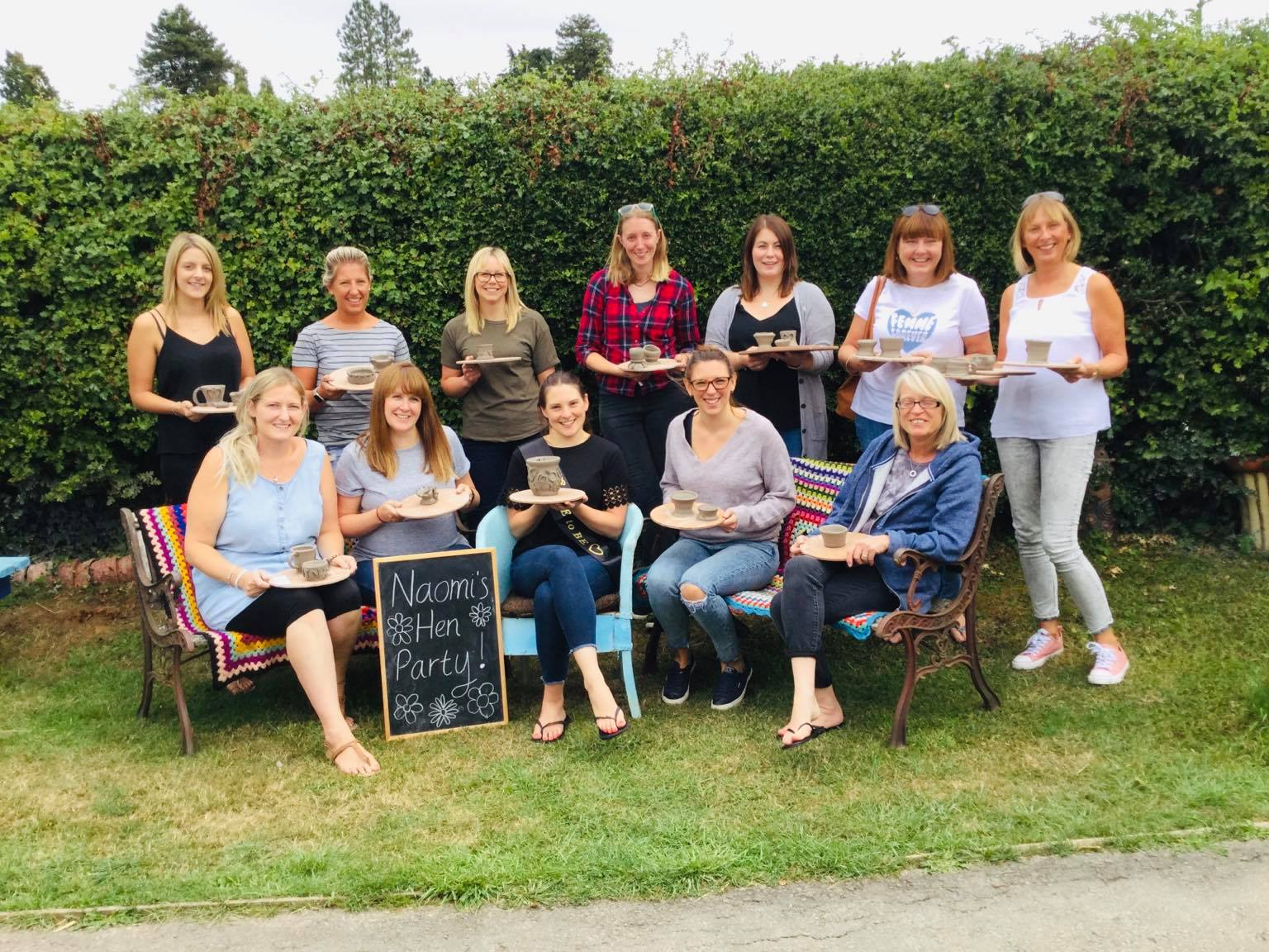 hen party group in the garden at eastnor pottery herefordshire