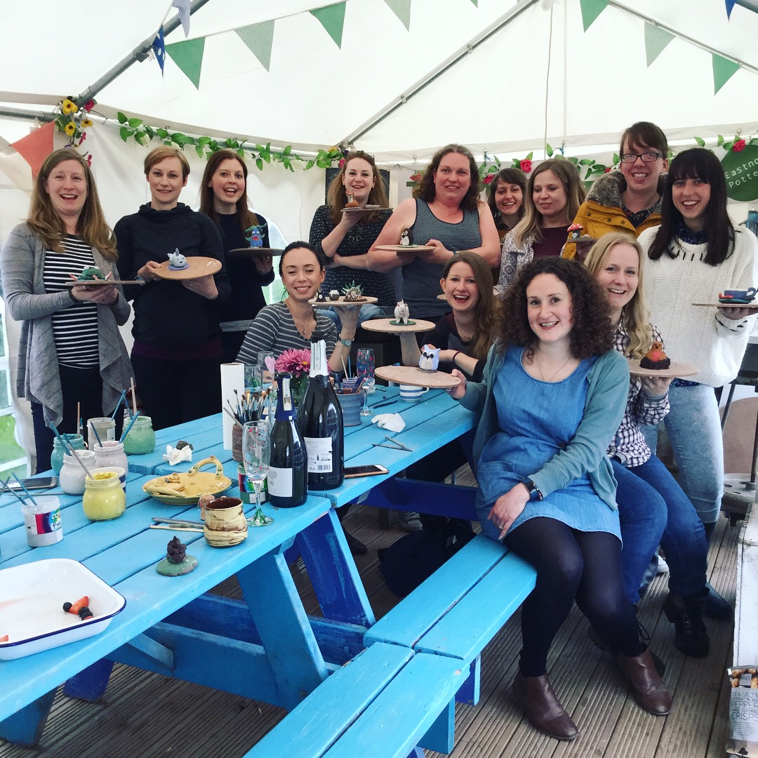 hen party weekend in the potting tent at eastnor pottery