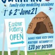A poster illustrating family pottery classes at eastnor pottery in half tern designed by Katie Glover