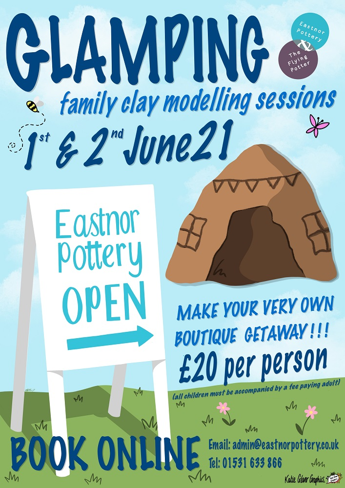Glamping Family clay modelling session at Eastnor pottery