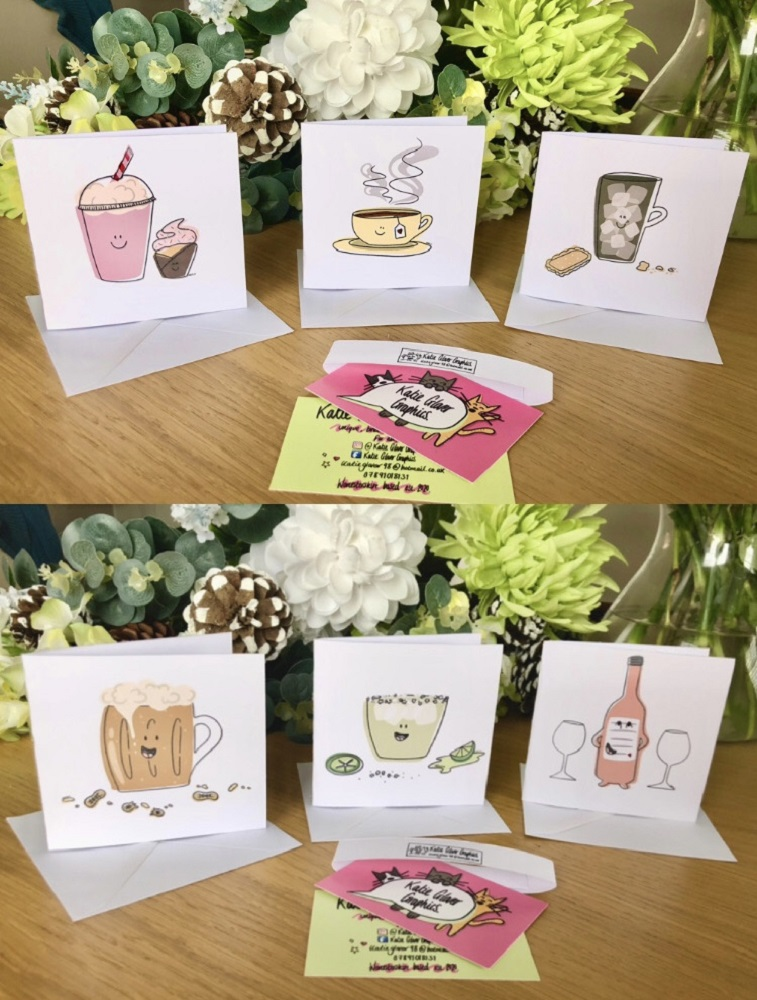 Selection of small animal and drinks themed cards