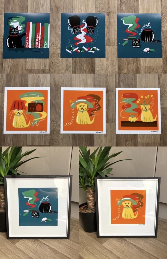 selection of prints cats and dogs framed and unframed