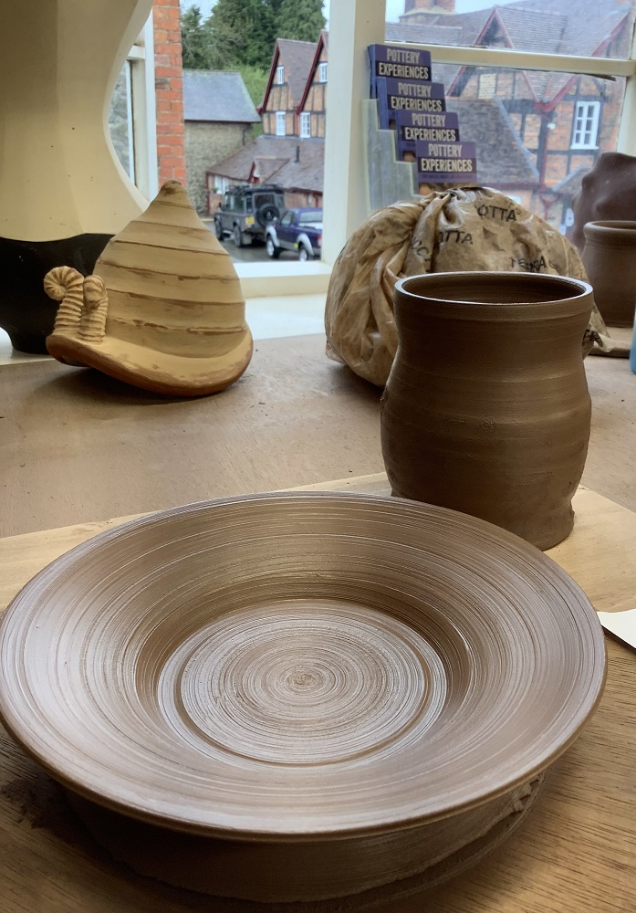 pot and plate thrown on pottery weekend course