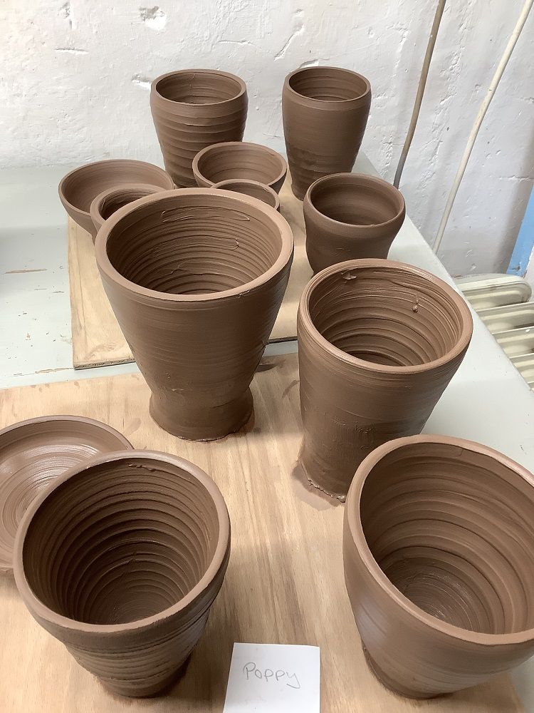 a selection pots thrown on weekend pottery course
