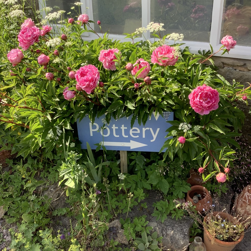 sign reading 'pottery' with an arrow surround by green shrubbery and pink peonies