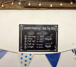 black chalk board poster displayed on wall surrounded by blue bunting ing 'eastnor pottery's step by step'
