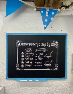 black chalk board poster displayed on wall with a teal frame reading 'eastnor pottery's step by step'