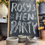 welcome chalk board for rosys pottery hen party at eastnor pottery