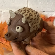 terracotta clay hedgehog made at eastnor pottery workshop